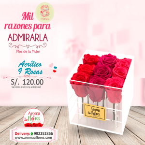Acrílico 9 Rosas Aroma de Flores