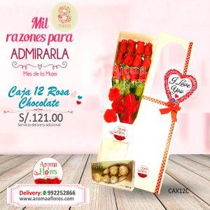 Caja 12 Rosa Chocolate Aroma a flores