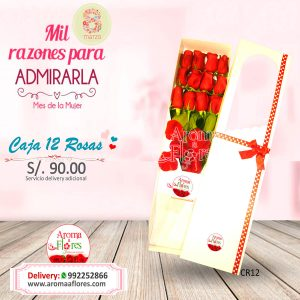 Caja 12 Rosas Aroma a flores