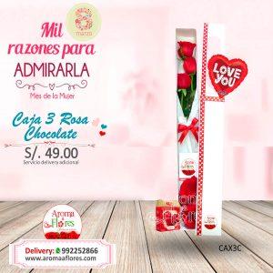 Caja 3 Rosa Chocolate Aroma a flores