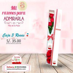 Caja 3 Rosas Aroma a flores