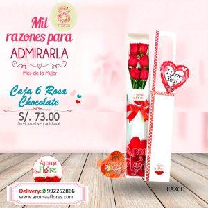 Caja 6 Rosa Chocolate Aroma a flores