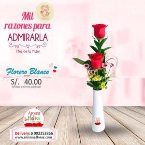 Florero Blanco Aroma a flores