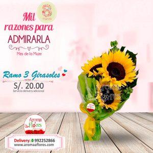 Ramo 3 Girasoles Aroma a flores