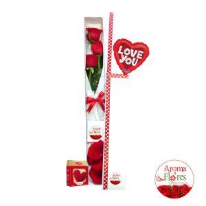 Caja 3 rosas chocalate aroma