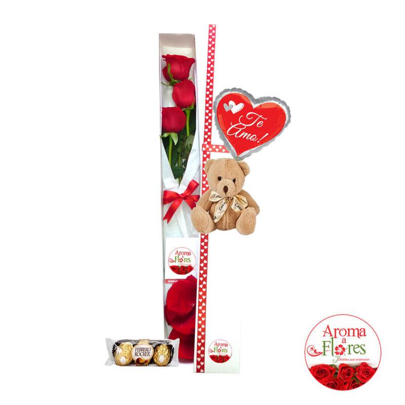Caja 3 rosas chocolates aroma