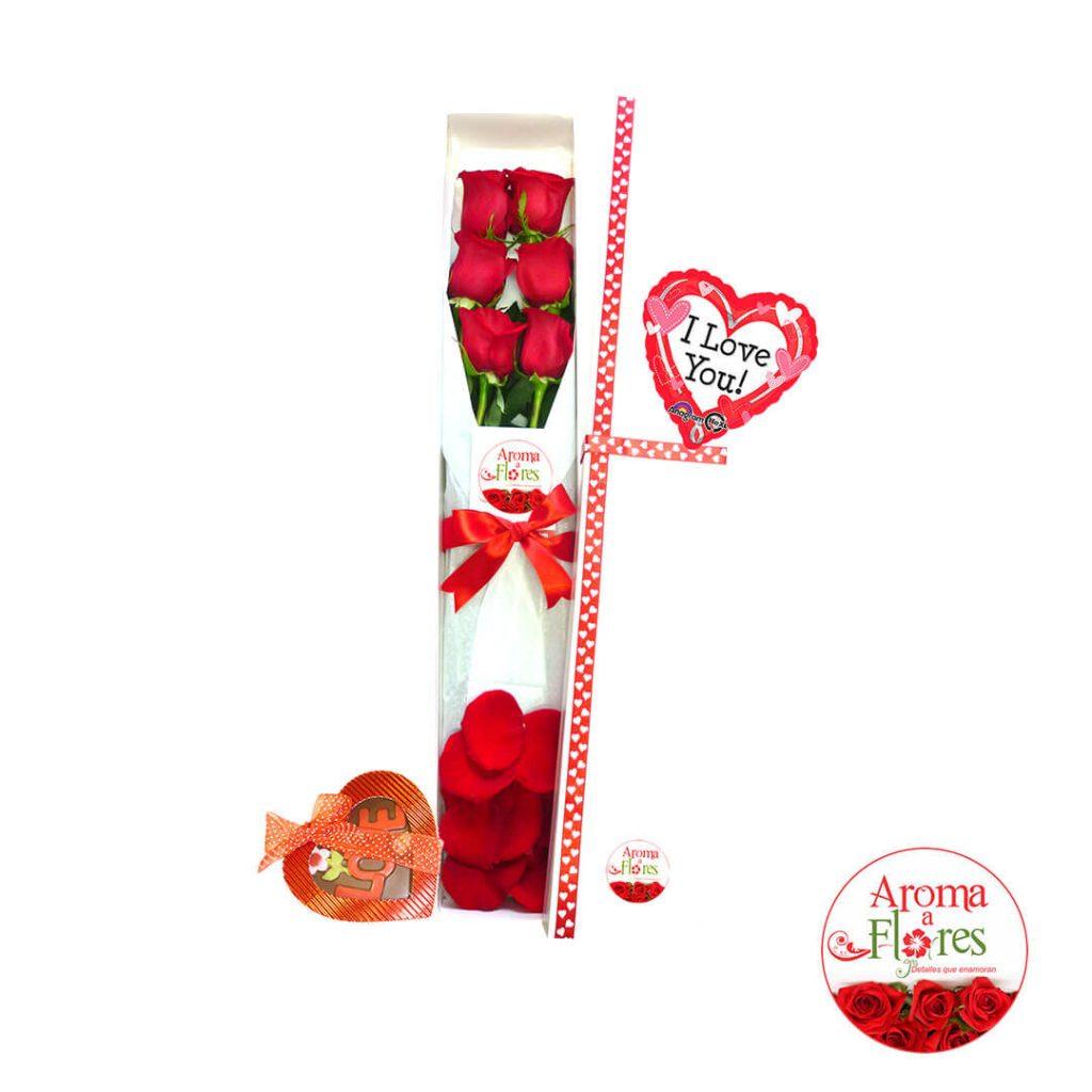 Caja 6 rosas chocolates aroma