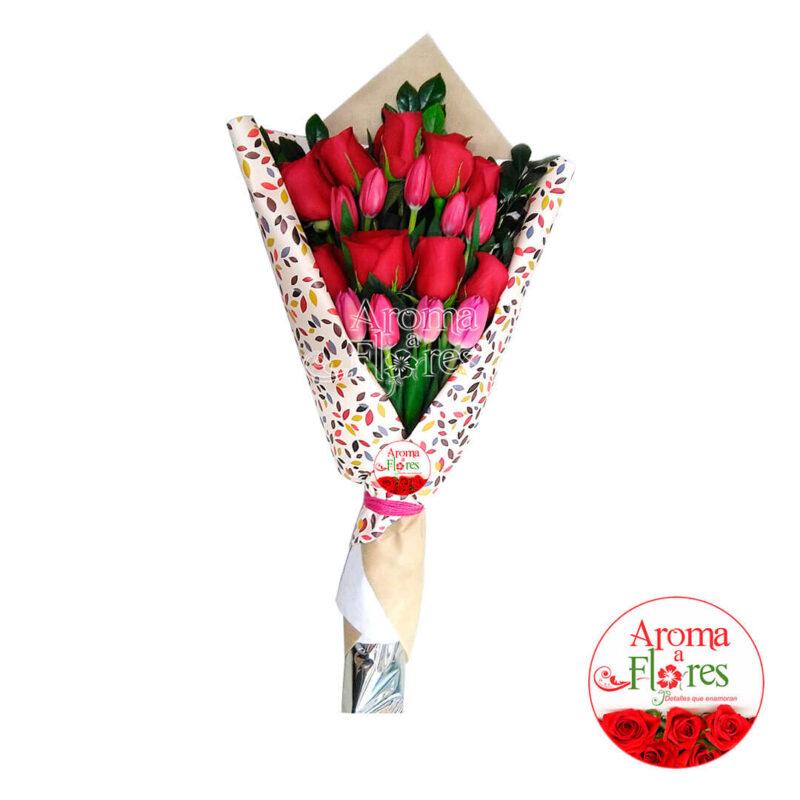 Ramo de 6 Rosas y Tulipanes