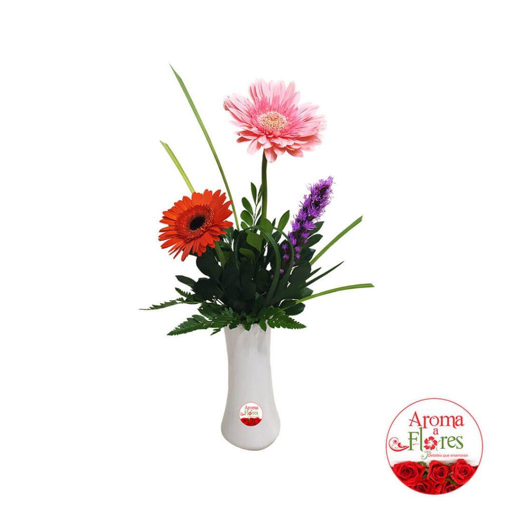 florero dos gerberas