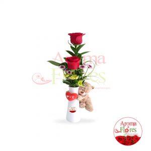 florero dos rosas mas peluche aroma a flores