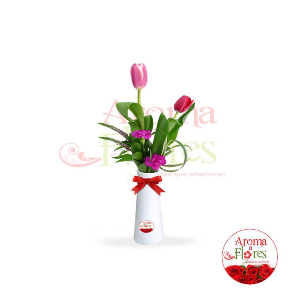 florero dos tulipan aroma a florero