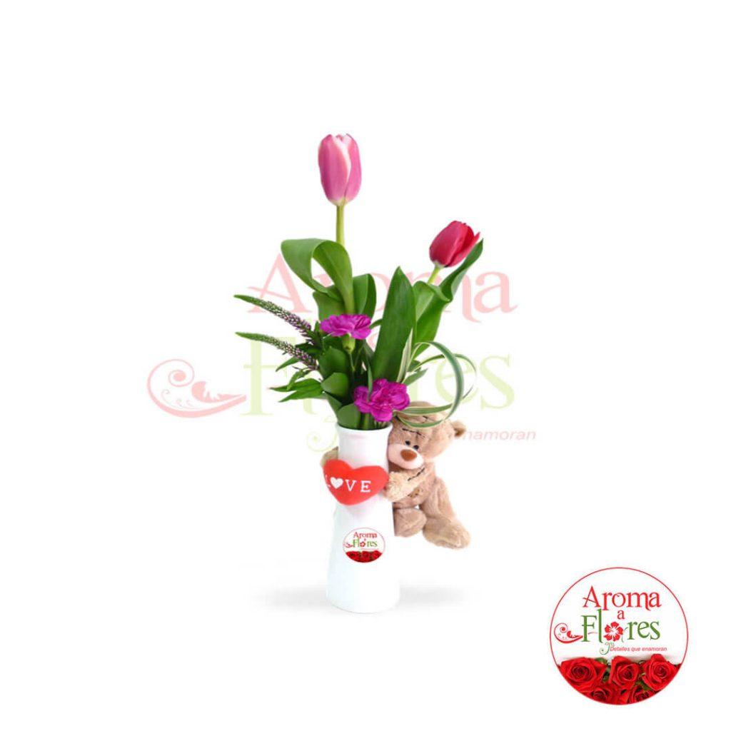 florero 2 tulipan mas peluchito aroma a flores