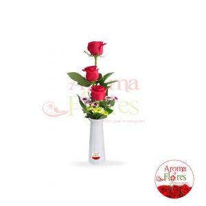 florero 3 rosas aroma a flores