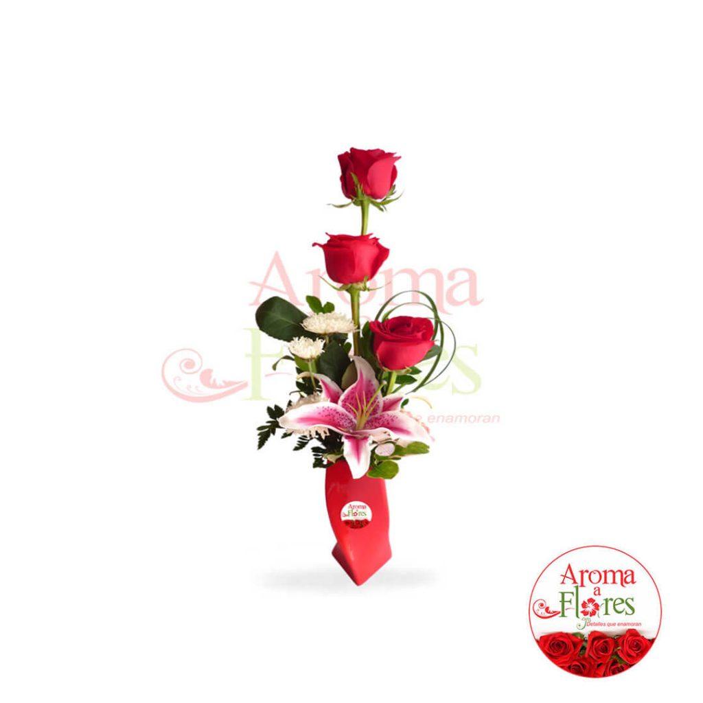florero tres rosas b aroma a flores