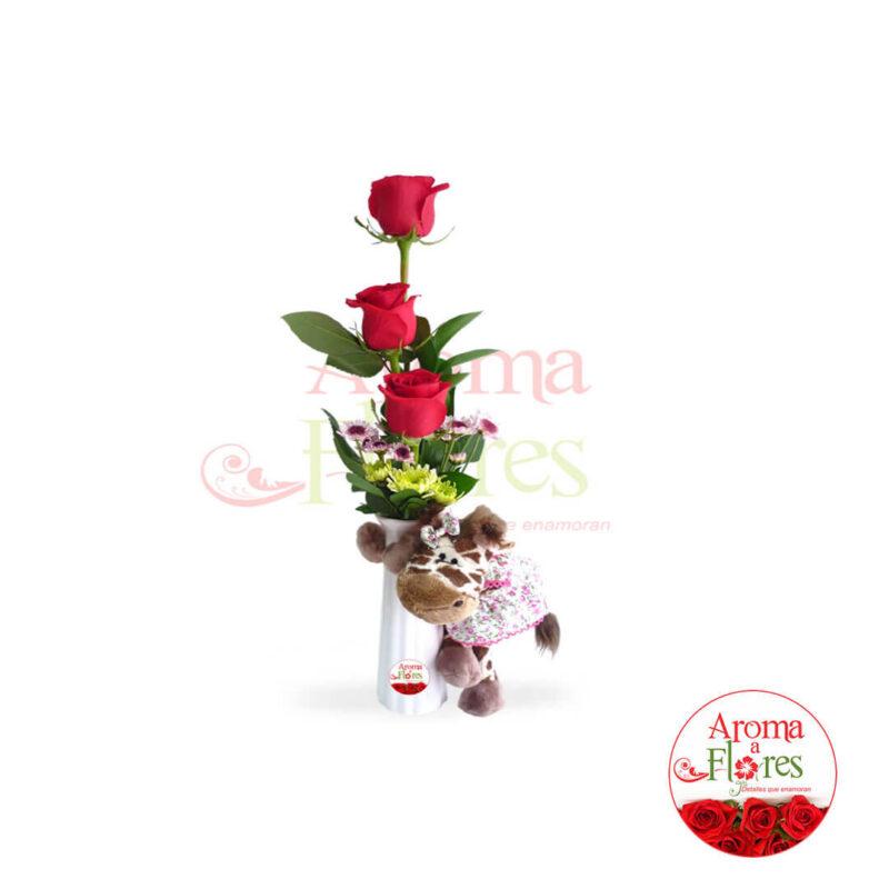 florero tres rosas mas peluches