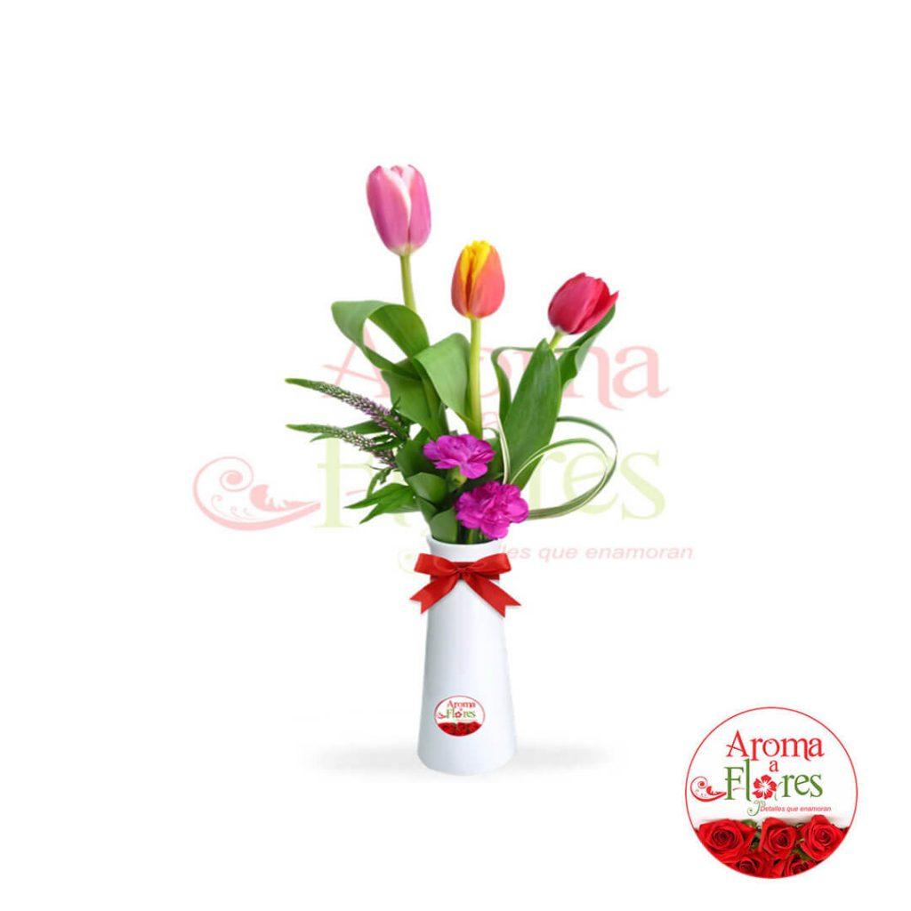 florero tres tulipan aroma a flores