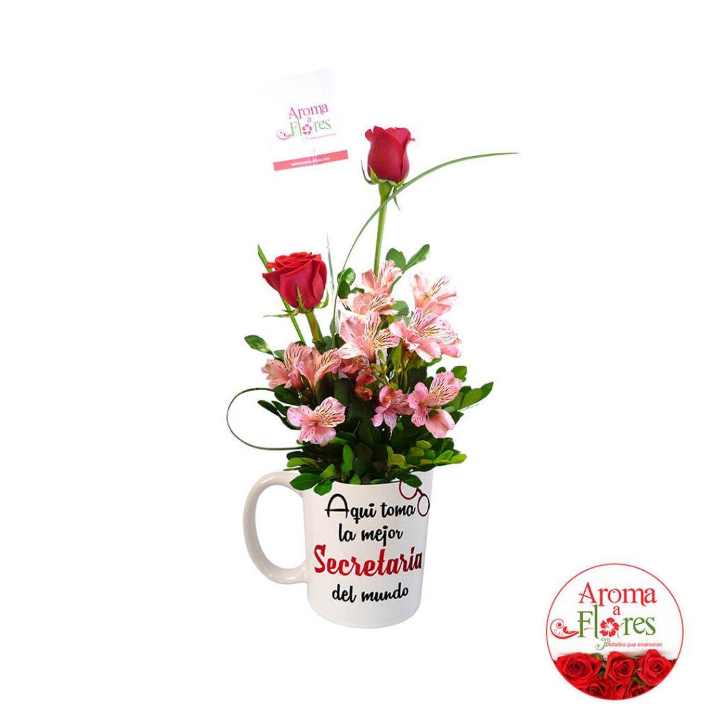 taza dos rosas aroma a flores