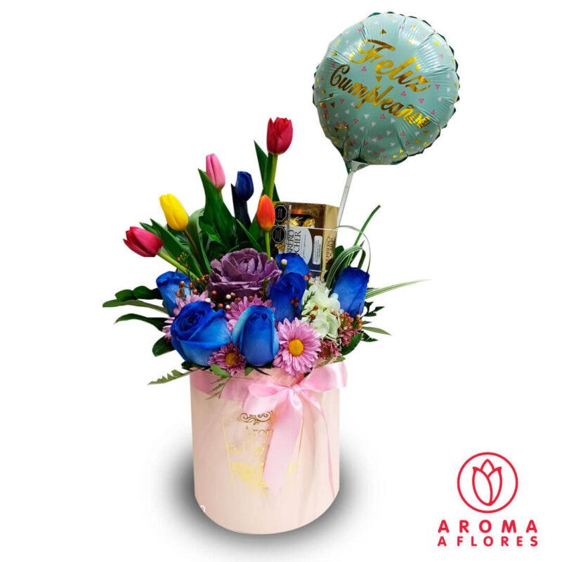 Box-6-Tulips-+-6-Rosas-Azules-y-Ferrero-aromaaflores