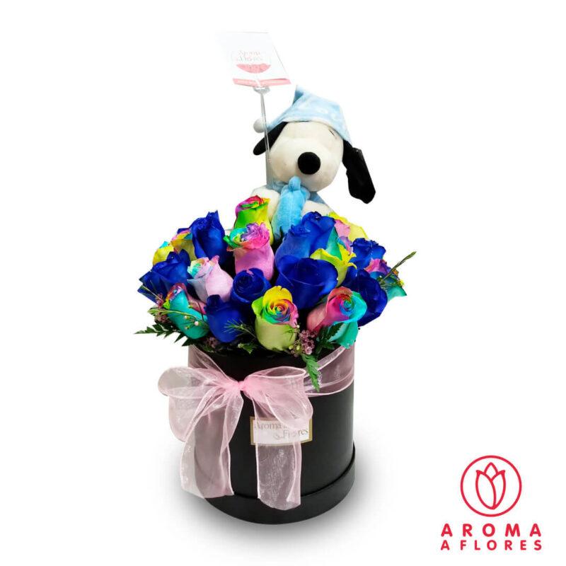 Box-Rosas-azul-multicolor-y-peluche-aromaaflores