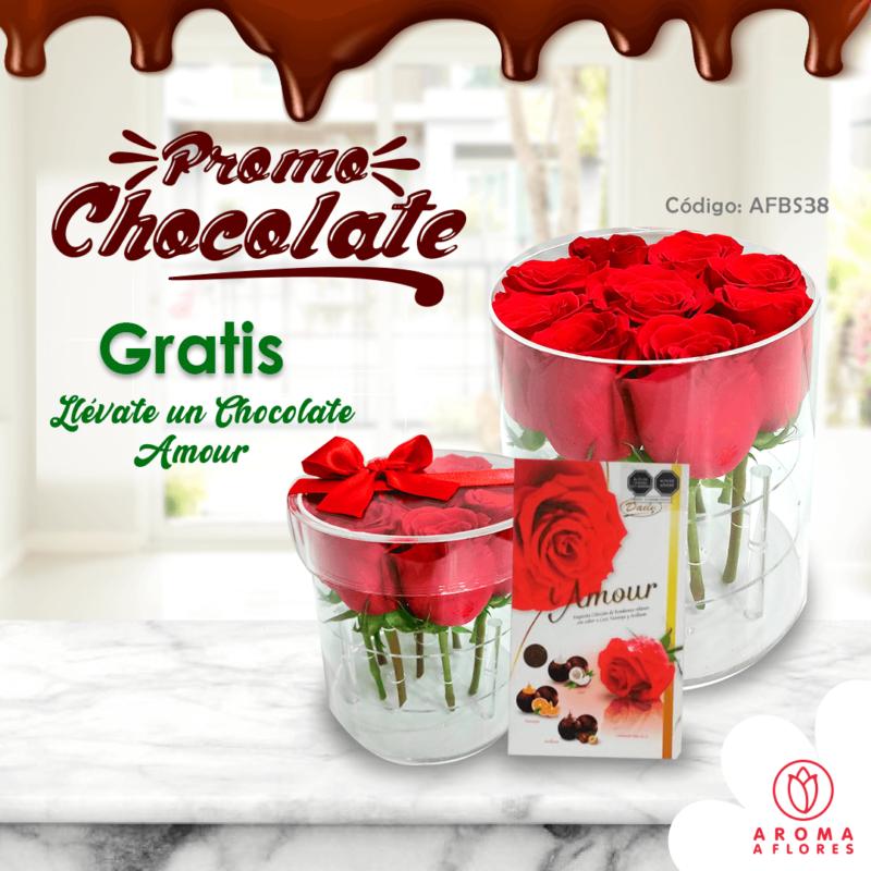 box 9 rosas acrilico-promo chocolate-aromaaflores