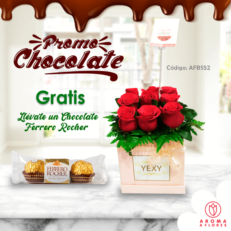 box 9 rosas promo chocolate-aromaaflores