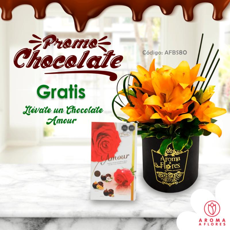 box lilium anaranjado-promo chocolate-aromaafores