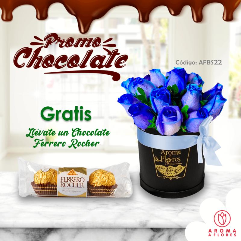 box petit 12 rosas azules-promochoco-aromaaflores
