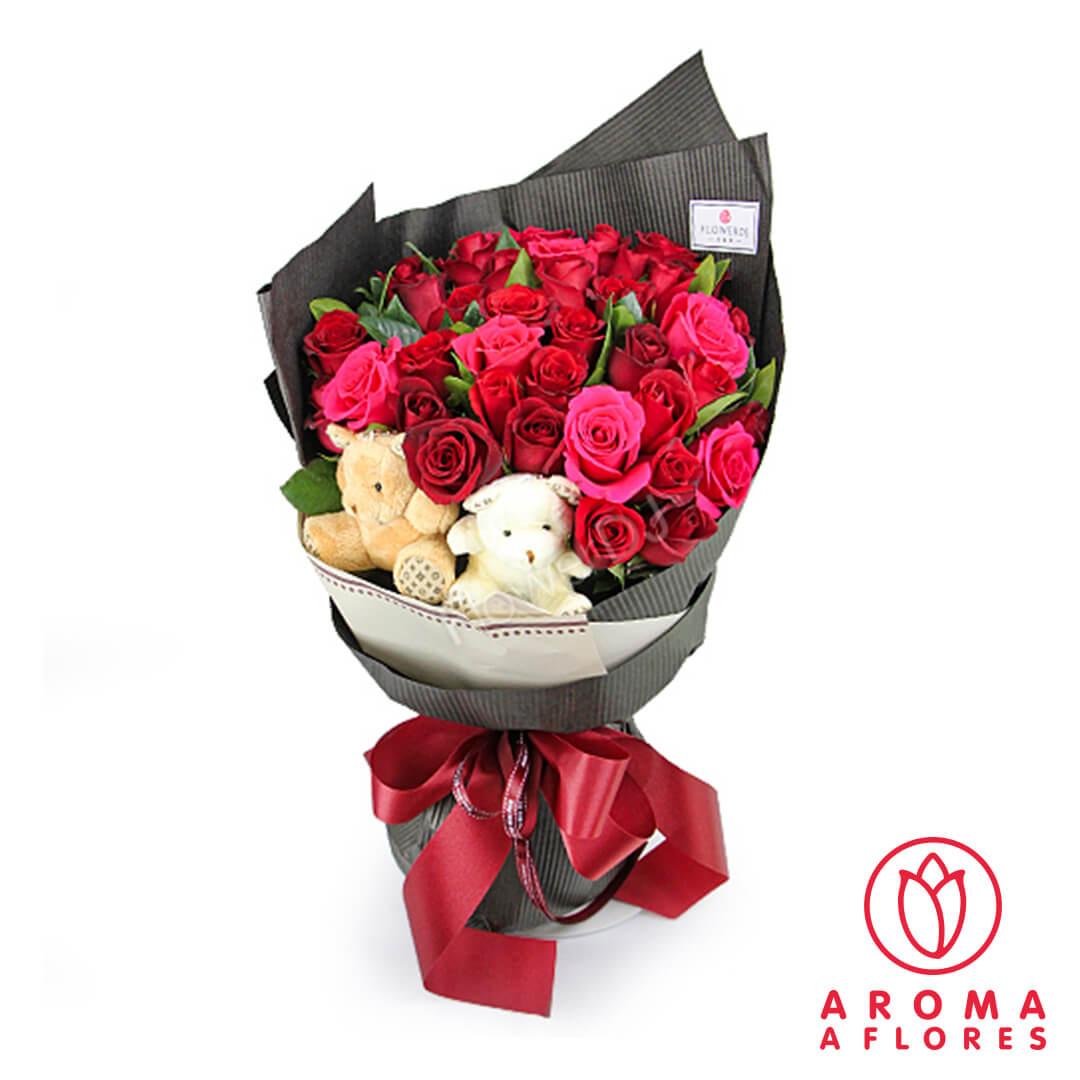 Pack Ramo de 12 rosas Osito de peluche marr/ón Par/ís Tarjeta dedicatoria de regalo Env/ío a domicilio 24h GRATIS Ramo de flores naturales y Osito a domicilio