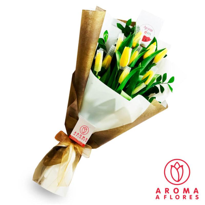 ramo-10-tulipanes-amarillo-aromaaflores