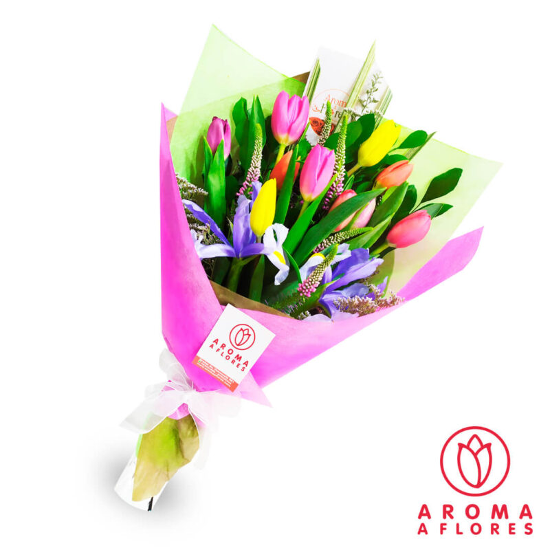 ramo-10-tulipanes-silver-aromaaflores