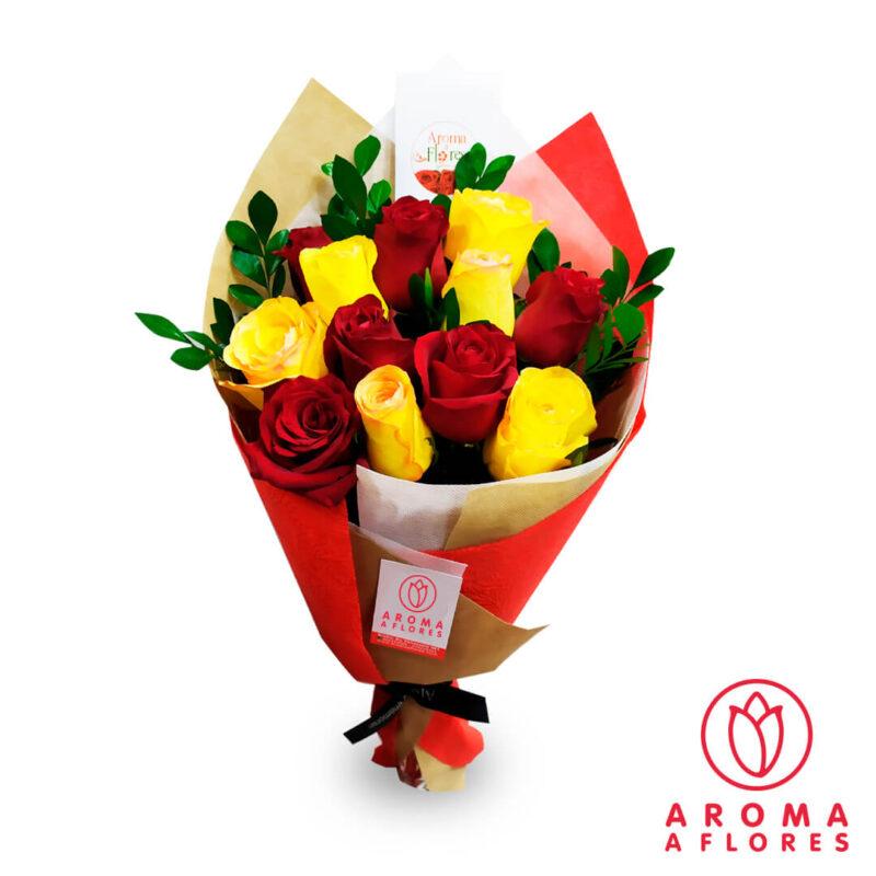 ramo-12-rosas-rojas-y-amarillas-aromaaflores