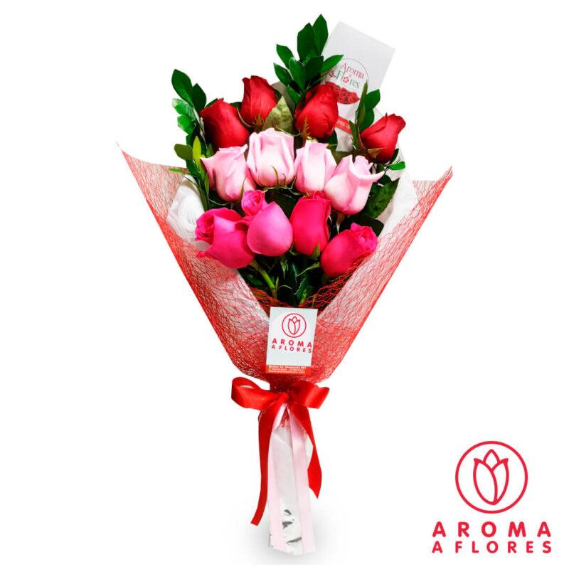 ramo-12-rosas-variadas-aromaaflores