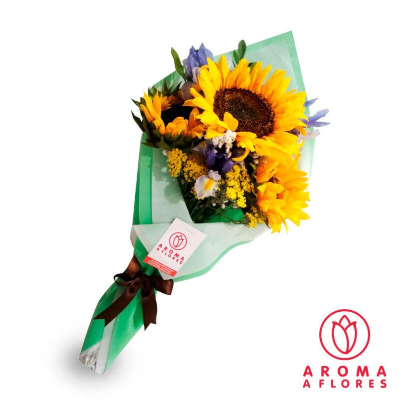 ramo-3-girasoles-e-iris-aromaaflores