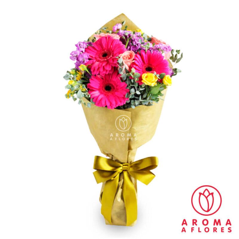 ramo-3-rosas-y-3-gerberas-fucsia-aromaaflores