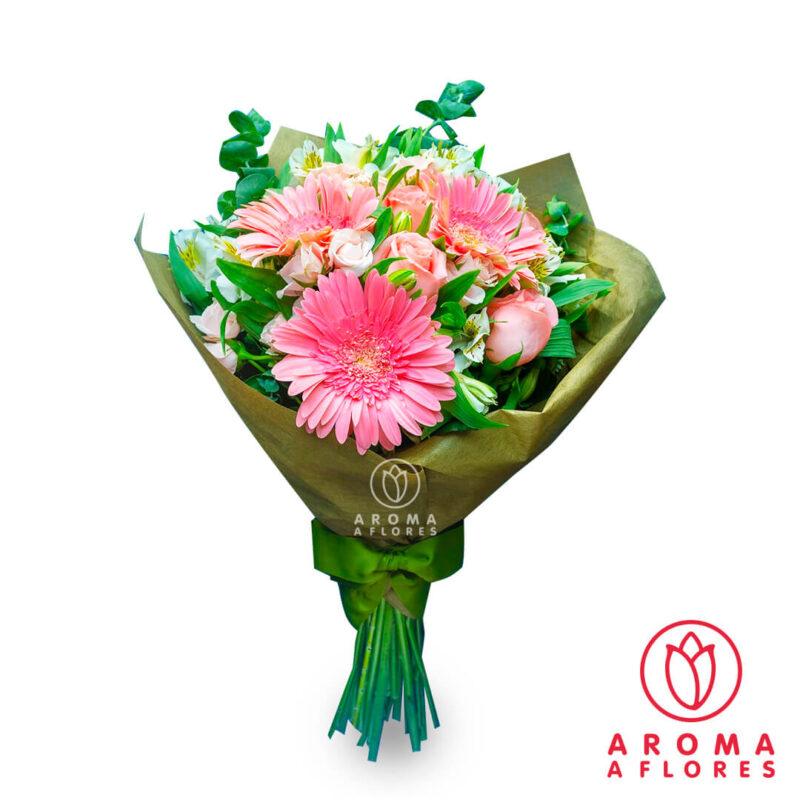ramo-3-rosas-y-gerberar-pink-aromaaflores