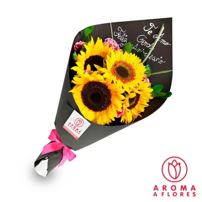 ramo-4-girasoles-menaje-aromaaflores