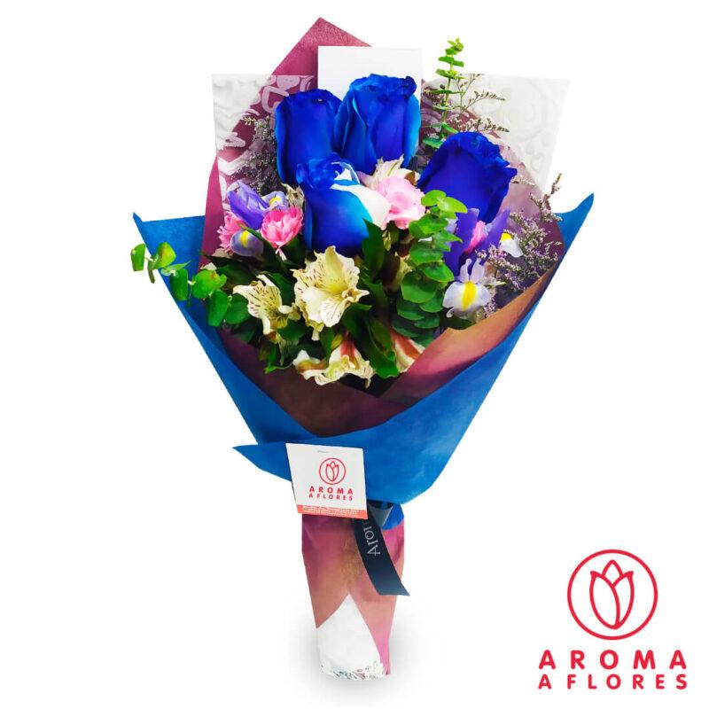 ramo-4-rosas-azul-aromaaflore