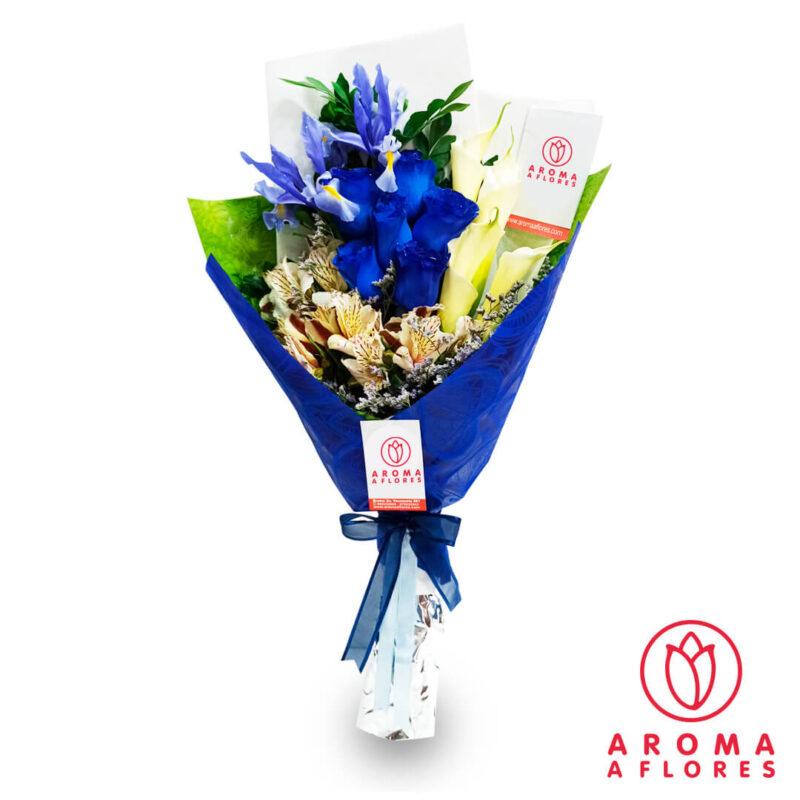 ramo-6-rosa-azul-calas aromaaflores