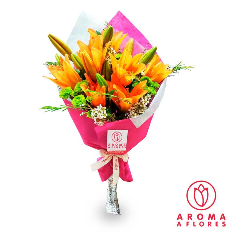 ramo-lilium-anaranjado-aromaaflores