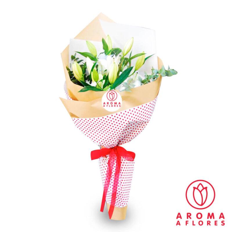 ramo-lilium-blanco-silver-aromaaflores