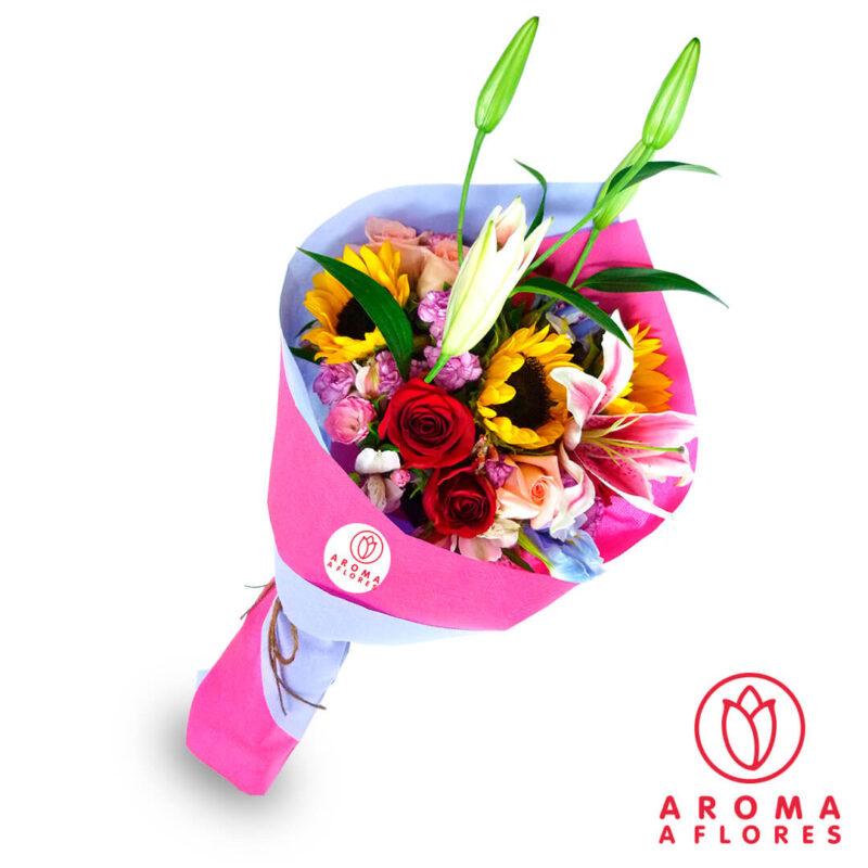 ramo-lilium-rosa-y-girasol-aromaaflores
