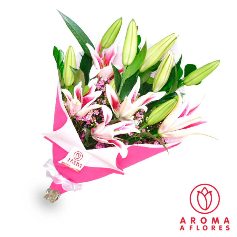 ramo-lilium-rosado-aromaaflores