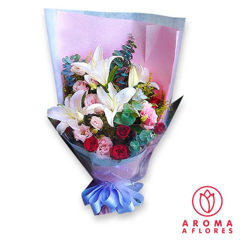 ramo-lilium-rosas-lisianthus-aromaaflores-