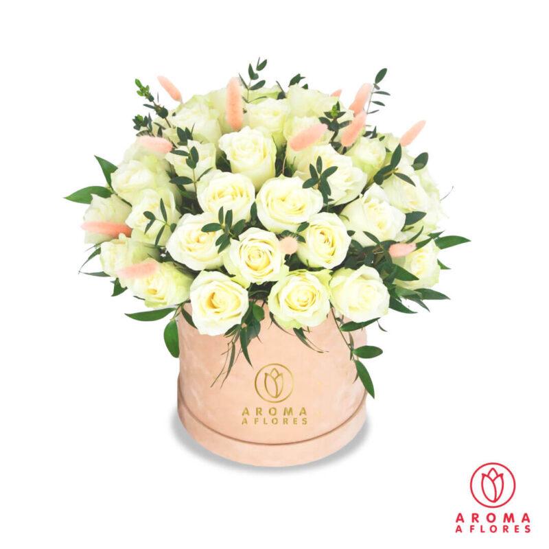 Box-30-Rosas-blancas-y-silver-aromaaflores