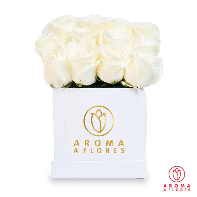 Box-blanco-16-Rosas-blancas-aromaaflores