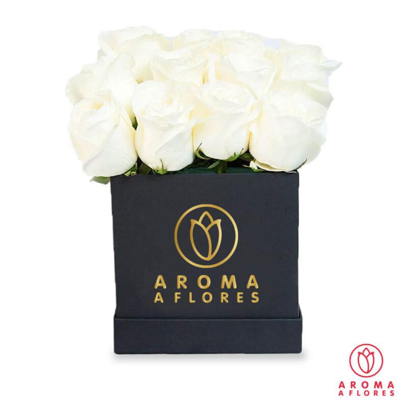 Box-negro-16-Rosas-blancas-aromaaflores