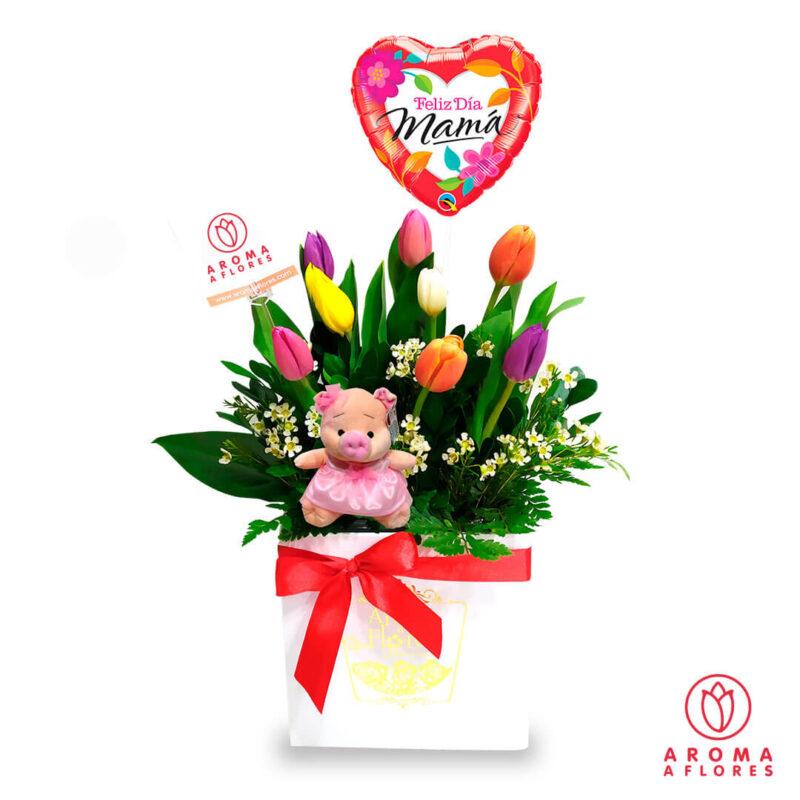 box-tulipanes-y-peluche.aromaaflores